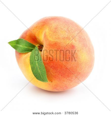 Ripe Peach Fruit With Green Leafs Isolated
