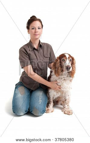 portrait of young lady with her dog