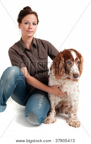 young lady and dog