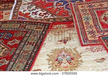 Collection Of Antique Oriental Carpets Expensive On Display In The Boutique