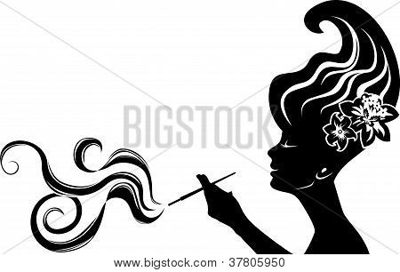 attractive smoking woman
