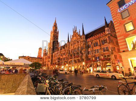 Munich - Aug 30, 2008: The Night Scene Of Town Hall