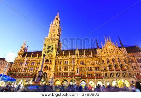 Munich - Aug 30, 2008: The Night Scene Of Town Hall