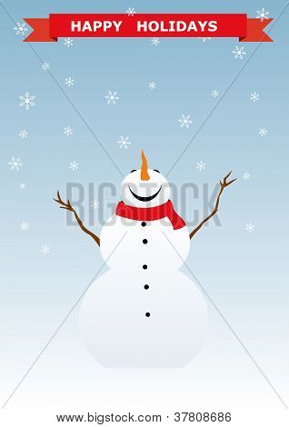 Snowman christmas background. Vector illustration
