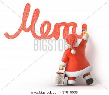 Santa draws Merry Christmas