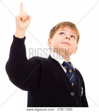 Schoolboy In His Uniform Points Upwards.