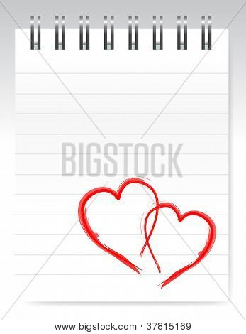 Loving Hearts Notepad Design Illustration