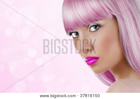 Portrait Of Young Beautiful Blonde Woman With Pink Lips