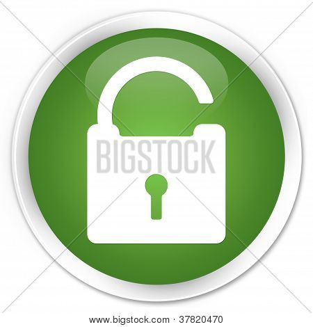 Unlock Icon Green Button