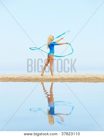 Girl Training On Beach