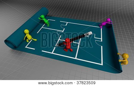 3D People Teamwork, Working On Floor Plan