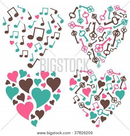 Hearts-notes-keys-set