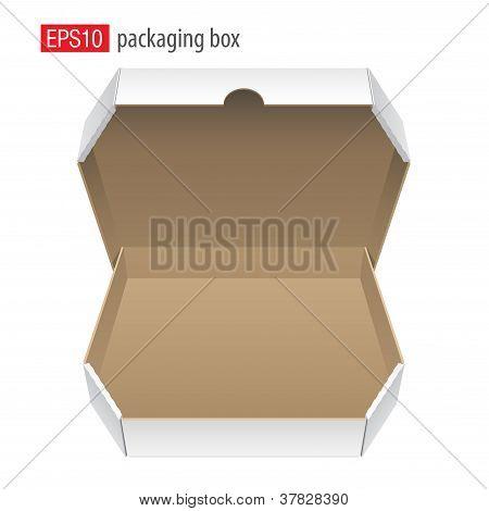 Realista blanco abrió el paquete. Caja de cartón para pizza.Vector