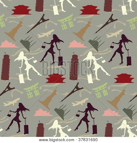 Travel Girl Seamless Pattern In Vintage Colors