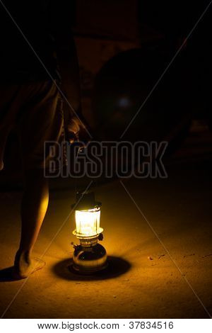 Lantern Night Dirt Road Feet Leg