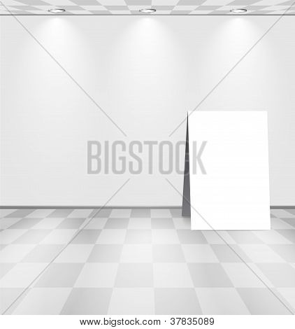 White Room With Advertising Stand