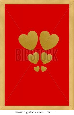 Gold Valentines On Red Background