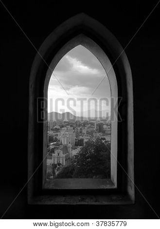 Capital City Ljubljana In Slovenia Through A Window