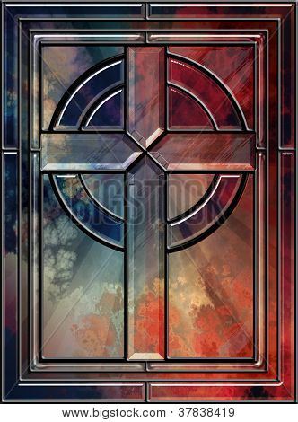 Realistic Stained Glass Cross