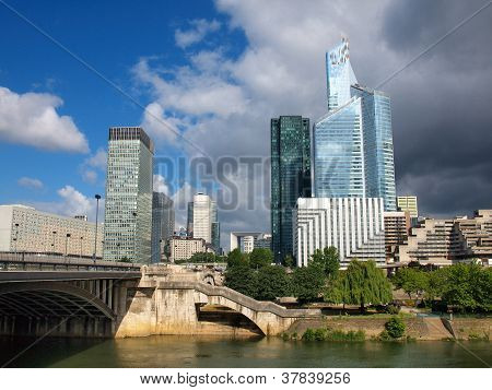 Skyscrapers Of Paris City And Seine River