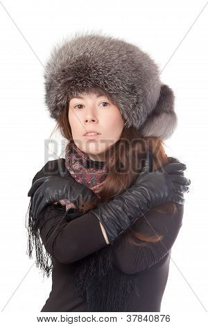 Vivacious Woman In Winter Outfit