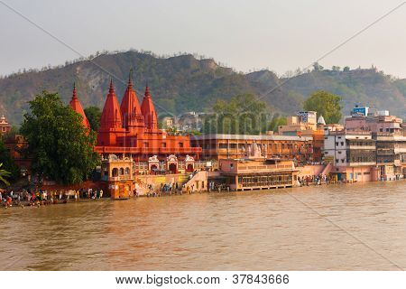 Red Temple Ganges River People Bathing