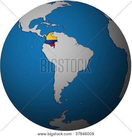 Colombia Flag On Globe Map