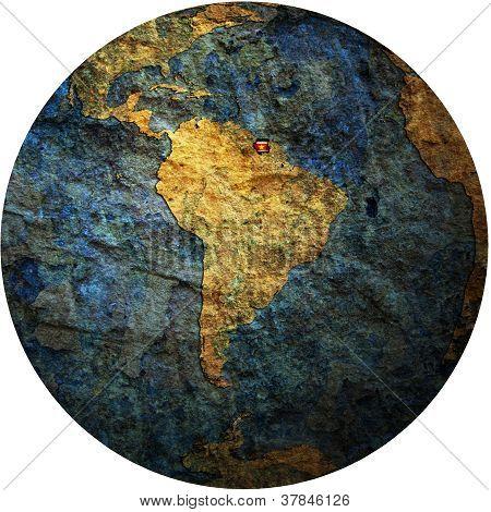 Surinam Flag On Globe Map