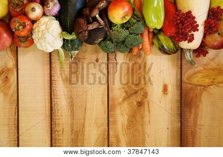 Frame Of Fruits And Autumn Yield