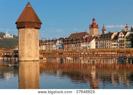 Chapel Bridge And Water Tower In Luzern