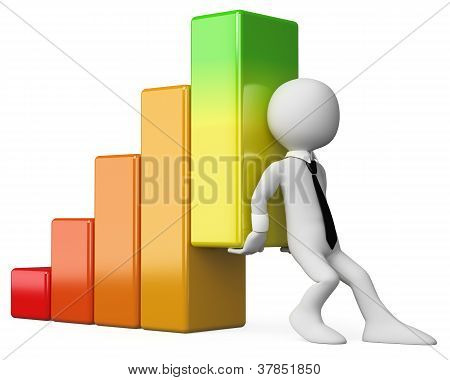 3D Business White People. Economy Bar Graph
