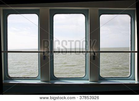 Ship Porthole Make Wide View Over Sea