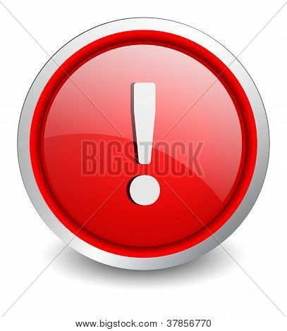 Attention red button - design web icon