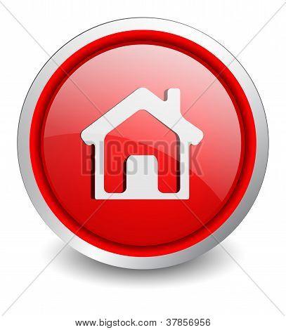 Home red button - design web icon