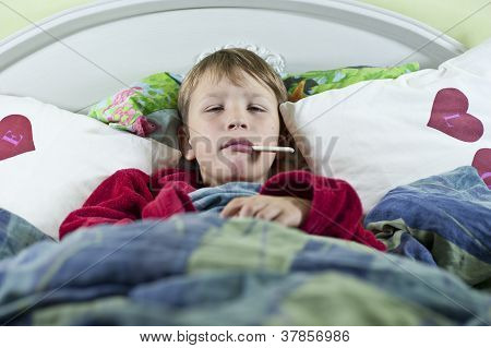 Boy In Bed With The Flu