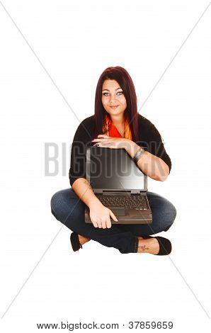 Woman Holding Laptop.