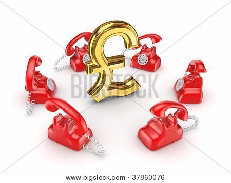 Retro telephones around golden pound sterling.