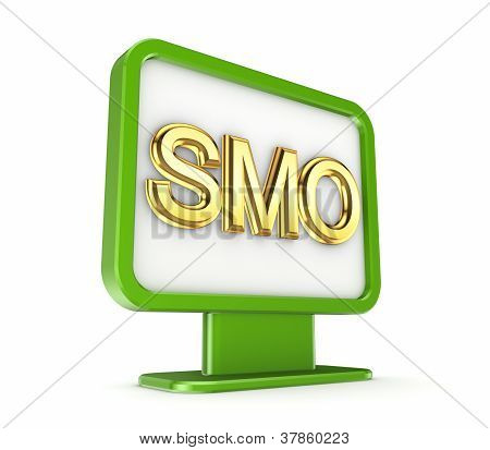 Green lightbox with a golden word SMO.