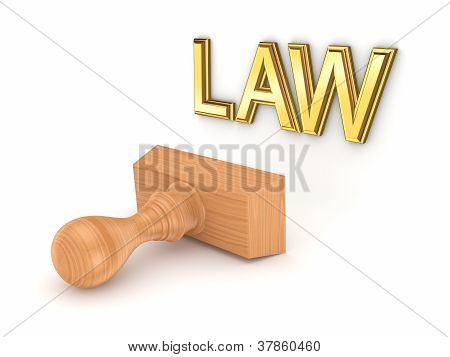Wooden stamp and word LAW.