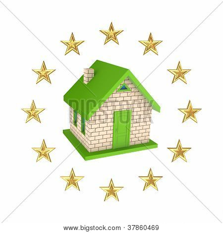 European Union symbol and small house.