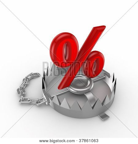 Percent symbol on a trap.