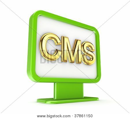 Green lightbox with a golden word CMS.