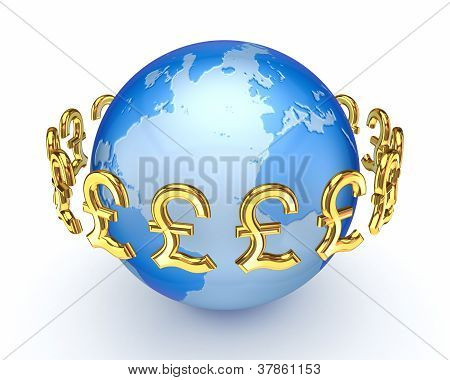 Pound sterling signs around Earth.