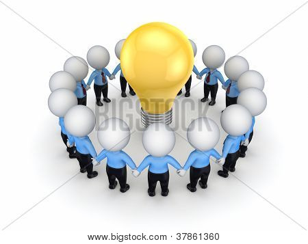 3d small people around yellow bulb.