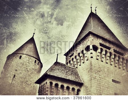 Retro-styled representation of the Estavayer castle (Fribourg / Switzerland)