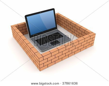 Notebook behind brick wall.