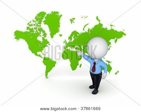 3d small person against map of the world.