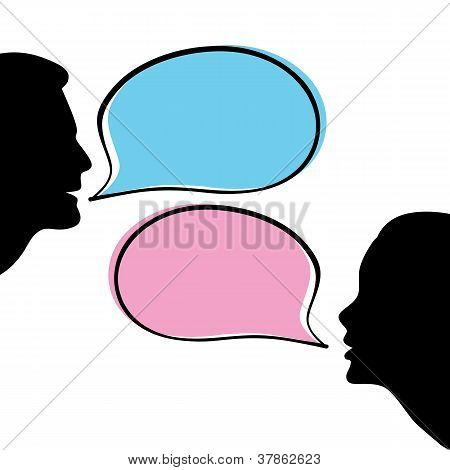 vector illustration silhouettes of male and female dialog