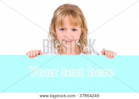 Cute Little Girl Holding A Banner Isolated Over A White Background