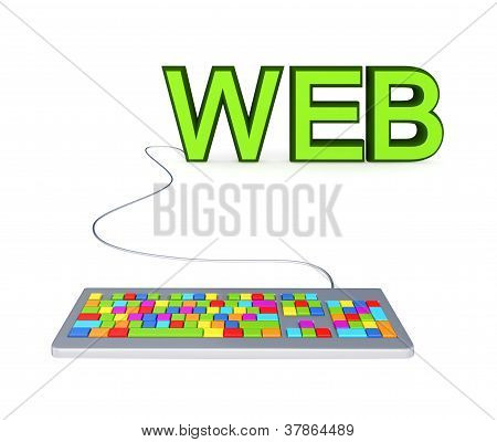 Colorful PC keyboard and big green word WEB.